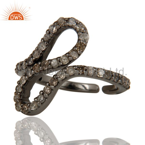 Wholesalers Black Oxidized 925 Sterling Silver Diamond Round Statement Midi Ring Jewelry