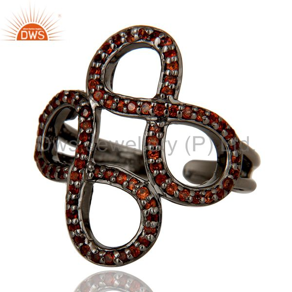 Wholesalers Garnet Black Oxidized Sterling Silver Infinity Midi Ring