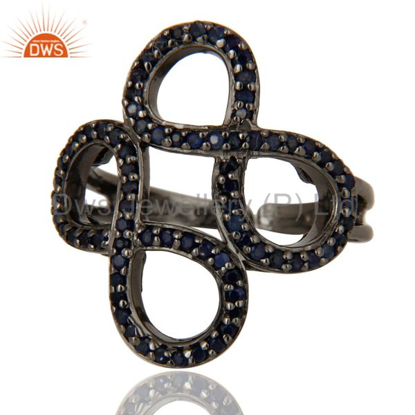 Wholesalers Blue Sapphire Black Oxidized Sterling Silver Infinity Midi Ring
