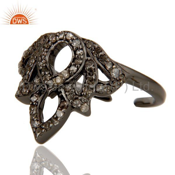 Wholesalers Diamond Black Oxidized Sterling Silver Crown Midi Ring