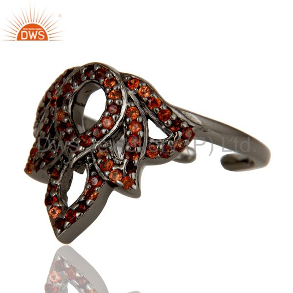 Wholesalers Garnet Black Oxidized Sterling Silver Crown Midi Ring