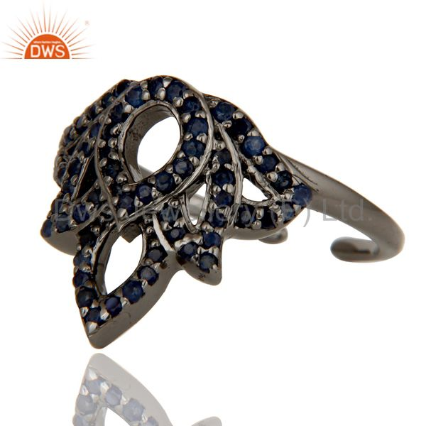 Wholesalers Blue Sapphire Black Oxidized Sterling Silver Crown Midi Ring