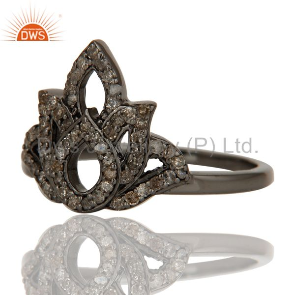 Wholesalers Crown Design Diamond and Oxidized Sterling Silver Beautiful Ring