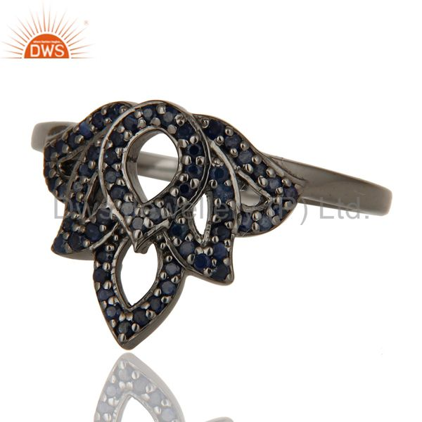 Wholesalers Crown Design Blue Sapphire and Oxidized Sterling Silver Beautiful Ring