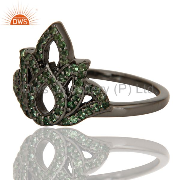 Wholesalers Crown Design Tsavourite and Oxidized Sterling Silver Beautiful Ring