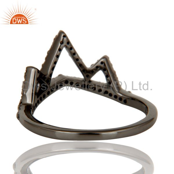 Wholesalers Crown Design Diamond Ring Black Oxidized Sterling Silver Loving Ring