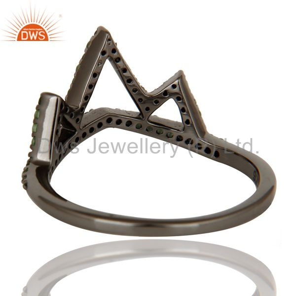Wholesalers Crown Design Tsavourite Ring Black Oxidized Sterling Silver Loving Ring