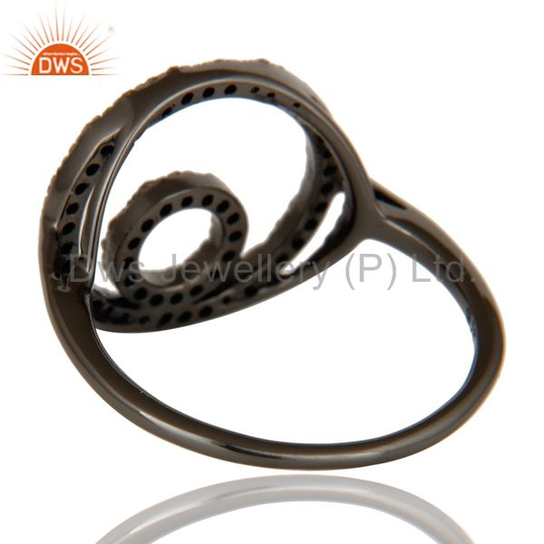 Wholesalers Round Design Pave Diamond Ring Black Oxidized Sterling Silver Loving Ring