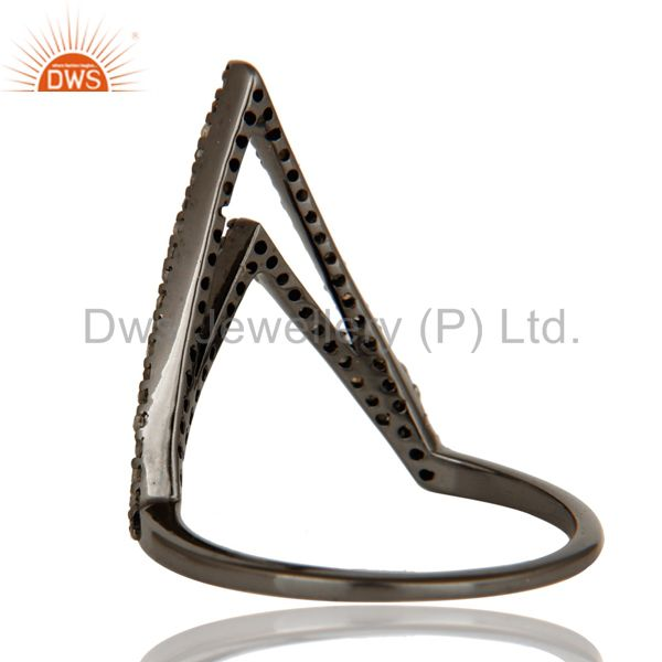 Wholesalers Diamond and Oxidized Sterling Silver Designer Lovely Ring