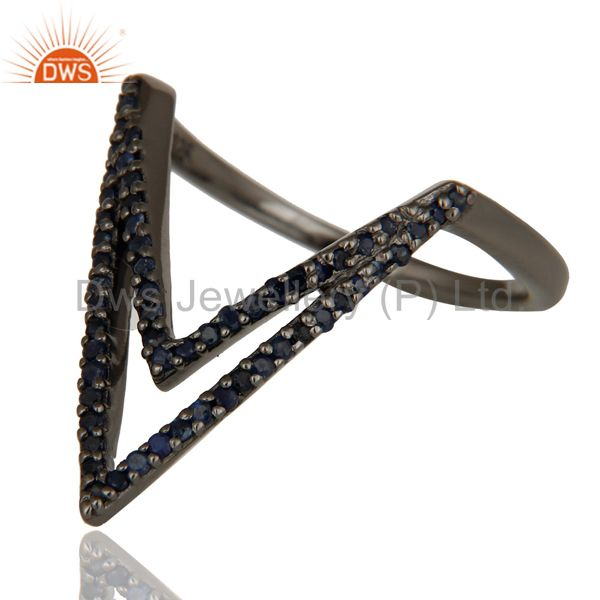 Wholesalers Blue Sapphire and Oxidized Sterling Silver Designer Lovely Ring