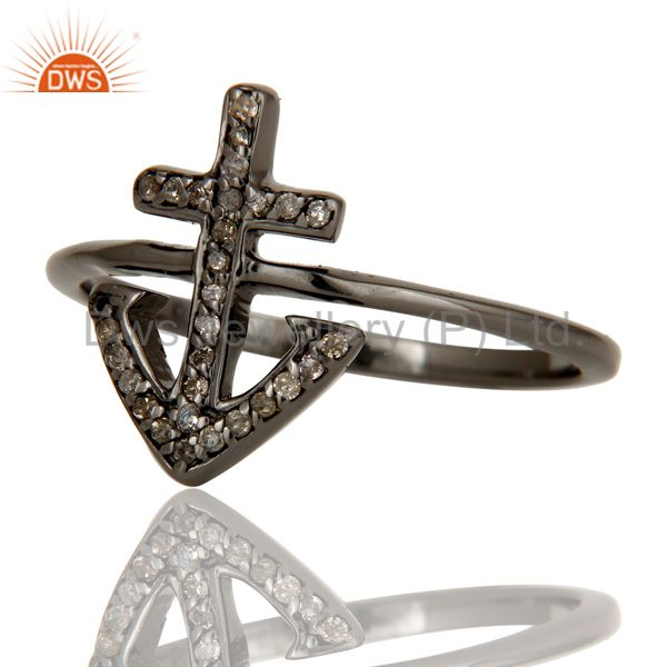 Wholesalers Pave Diamond Oxidized 925 Sterling Silver Cross Design Statement Ring Jewelry