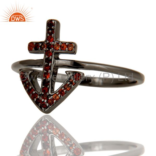 Wholesalers Garnet and Oxidized Sterling Silver Cross Sign Statement Ring