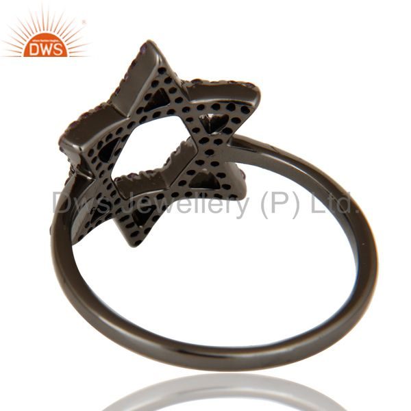 Wholesalers Amethyst and Oxidized Sterling Silver Star Design Ring