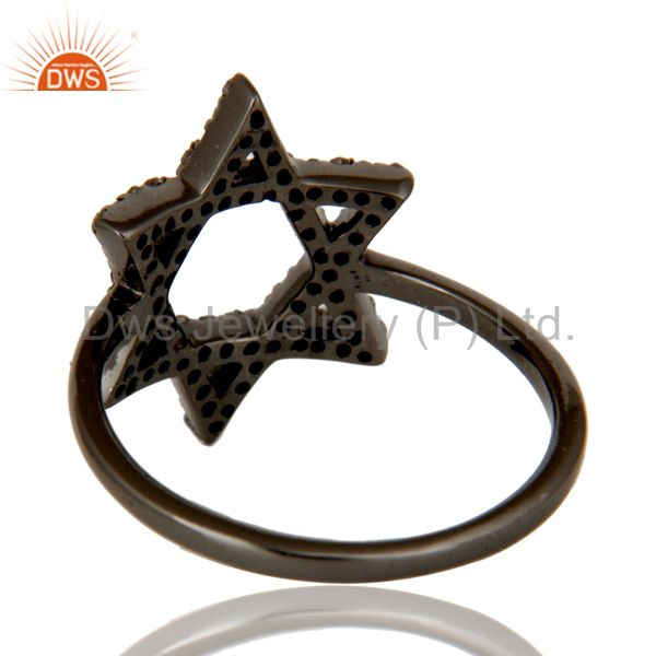 Wholesalers Pave Diamond and Oxidized Sterling Silver Star Design Ring