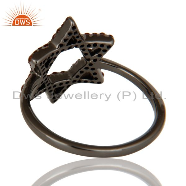 Wholesalers Garnet and Oxidized Sterling Silver Star Design Ring
