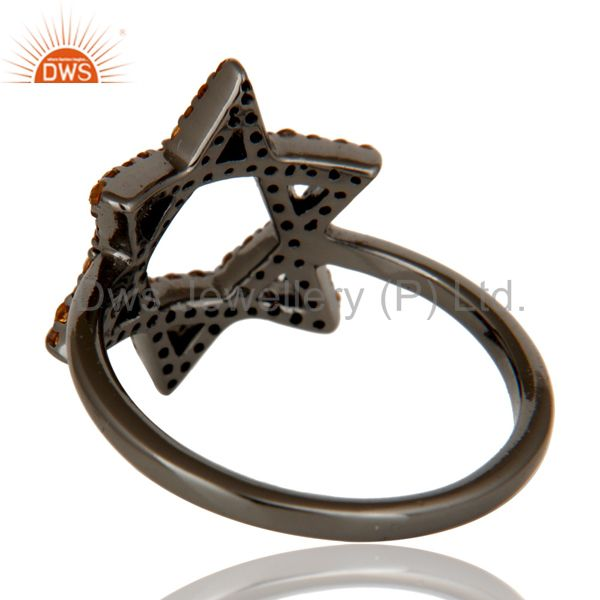 Wholesalers Spessartite and Oxidized Sterling Silver Star Design Ring