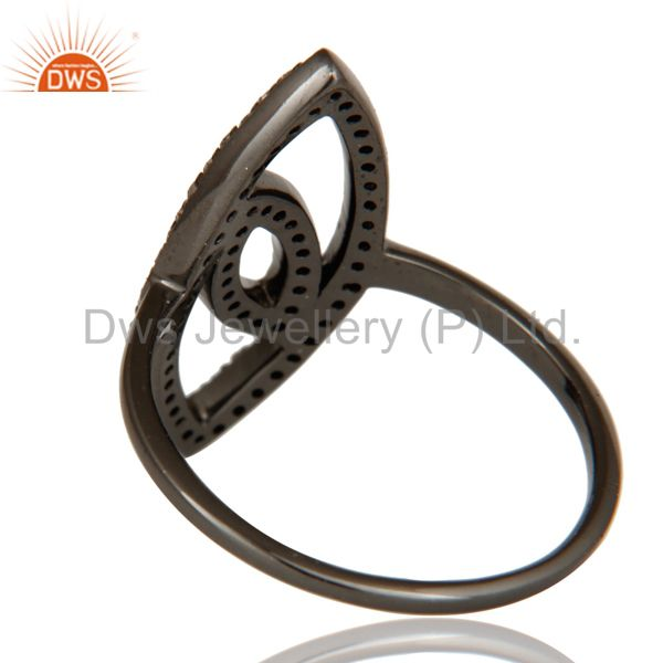 Wholesalers Oxidized Sterling Silver and Diamond Studded Ring Designer Jewelry