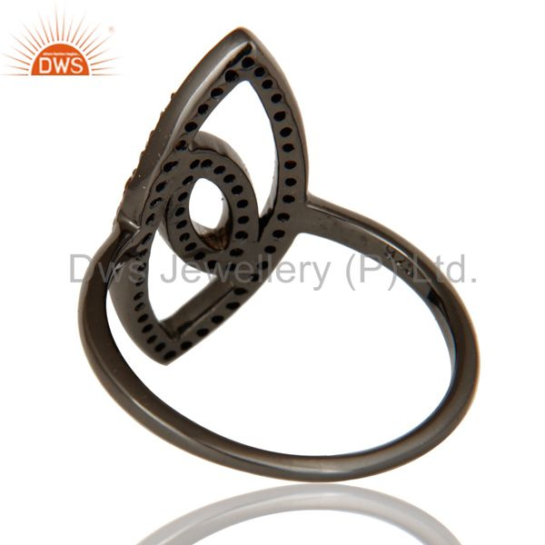 Wholesalers Oxidized Sterling Silver and Spassartite Studded Ring Designer Jewelry