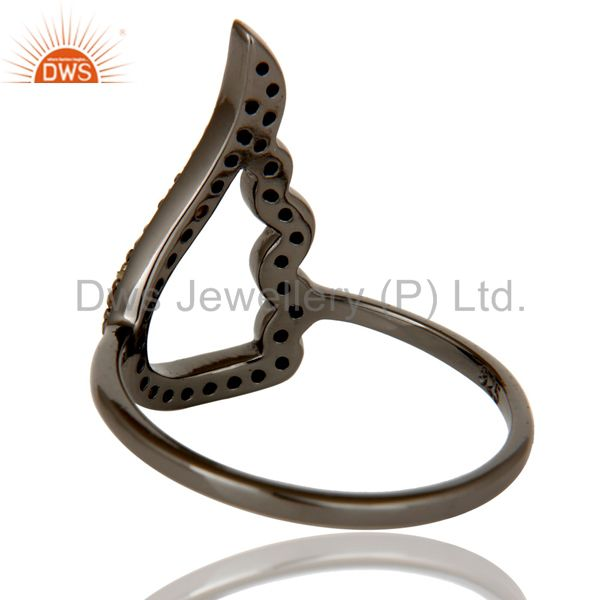 Wholesalers Wing Style Diamond and Oxidized Sterling Silver Jewelry Ring