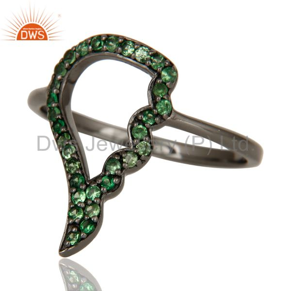 Wholesalers Wing Style Tsavourite and Oxidized Sterling Silver Jewelry Ring