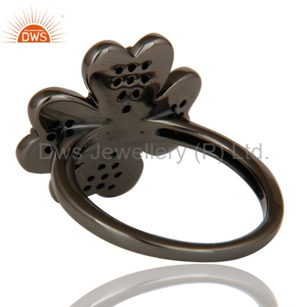 Wholesalers Diamond and Oxidized Sterling Silver Flower Design Ring
