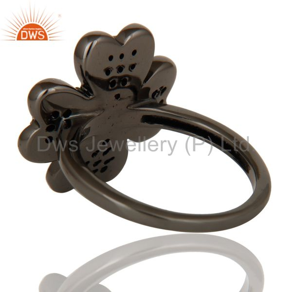 Wholesalers Spessartite and Oxidized Sterling Silver Flower Design Ring