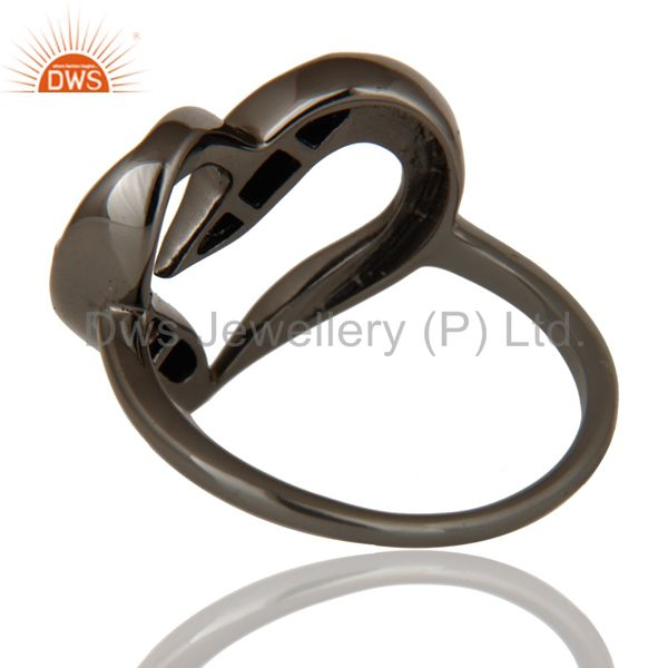 Wholesalers Designer Heart Ring with Diamond and Oxidized Sterling Silver