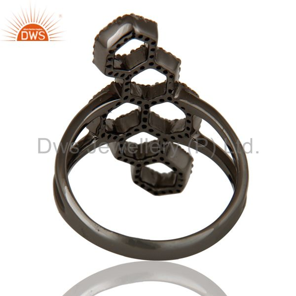 Wholesalers Oxidized Sterling Silver and Diamond Statement Ring Designer Jewelry