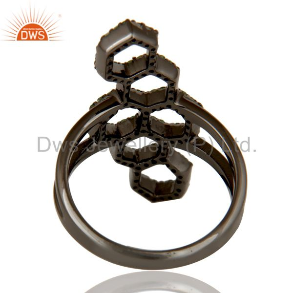 Wholesalers Oxidized Sterling Silver and Tsavourite Statement Ring Designer Jewelry