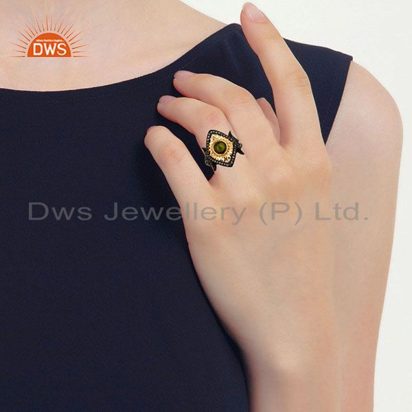 Wholesalers 18K Gold Plated & Black Oxidized Sterling Silver Pave Diamond & Tourmaline Ring