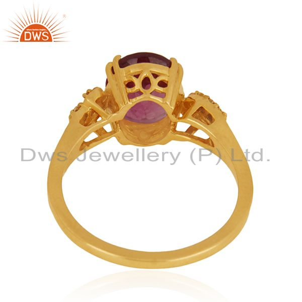 Wholesalers Solid 18k Yellow Gold Rubellite Tourmaline and Diamond Wedding Ring Manufacturer