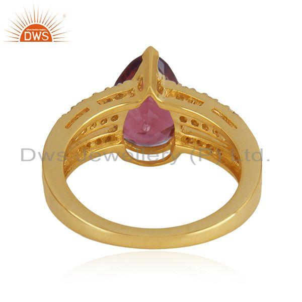 Wholesalers Solid 18k Yellow Gold Diamond and Tourmaline Gemstone Wedding Ring Manufacturer