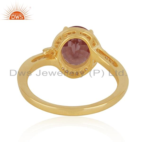 Wholesalers Solid 18k Yellow Gold Diamond and Garnet Birthstone Wedding Ring Manufacturer