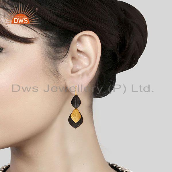 Exporter of 14k gold plated & black oxidized traditional handmade fashion brass earrings