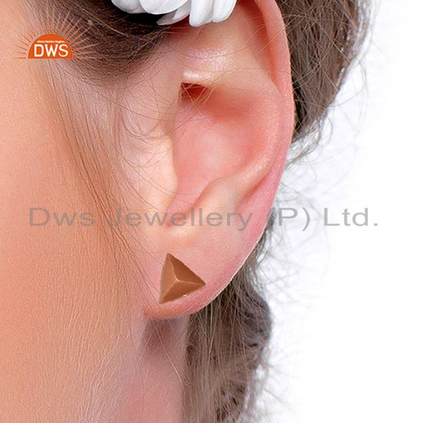 Wholesalers Pyramid Design Rose Gold Plated Brass Fashion Stud Earring Supplier