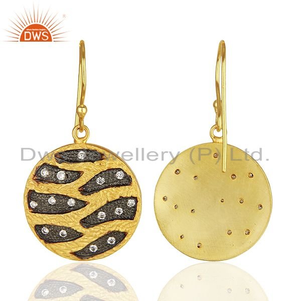 Wholesalers Round Brass Fashion Gold Plated Cz Gemstone Earrings Manufacturers