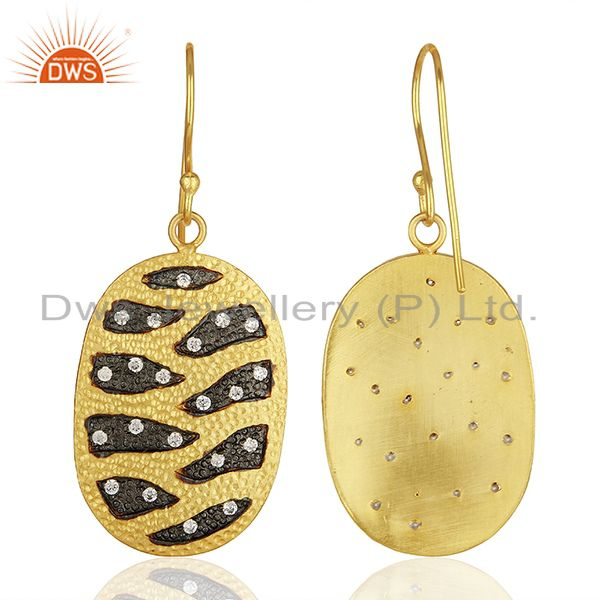 Wholesalers White Zircon Gold Plated Brass Fashion Girls Earrings Manufacturers