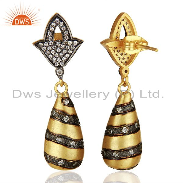 Wholesalers White Zircon Two Tone Brass Fashion Dangle Earrings Manufacturers