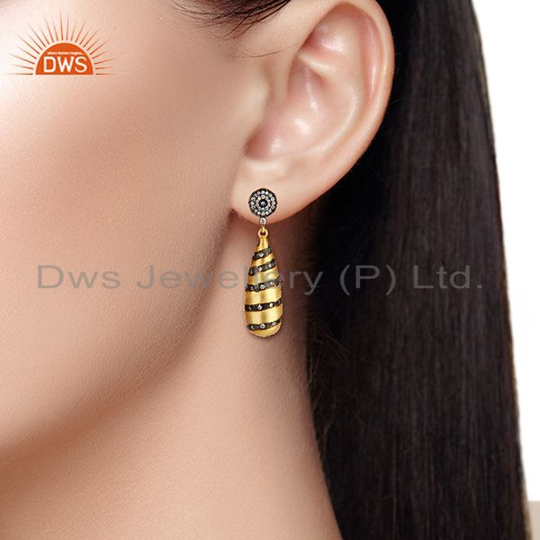 Wholesalers Designer Brass Gold Plated Fashion Cz Gemstone Earrings Wholesale