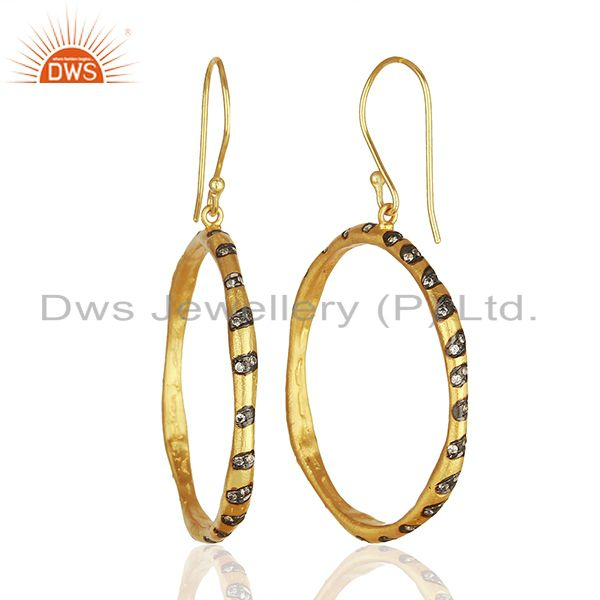 Wholesalers Round Brass Gold Plated Fashion Cz Gemstone Hoop Earrings Wholesalers