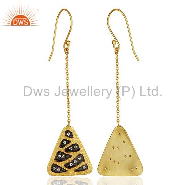 Wholesalers Multi Color Plated Brass Fashion Cz Gemstone Chain Earrings Jewelry
