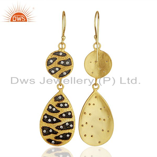 Wholesalers Indian Handmade Gold Plated Brass Cz Gemstone Fashion Earrings