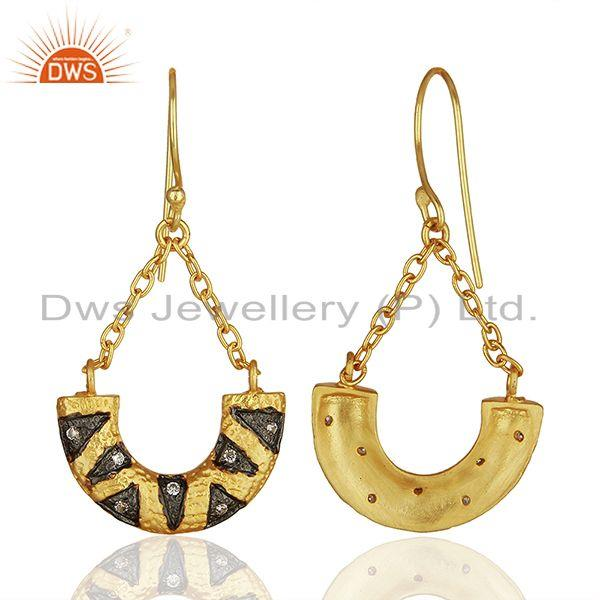 Wholesalers Designer Gold Plated Cz Gemstone Brass Fashion Chain Earring Wholesale