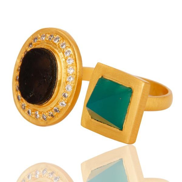 Wholesalers Green Onyx, White Zircon & Smokey Rough with 18k Gold Plated Brass Ring
