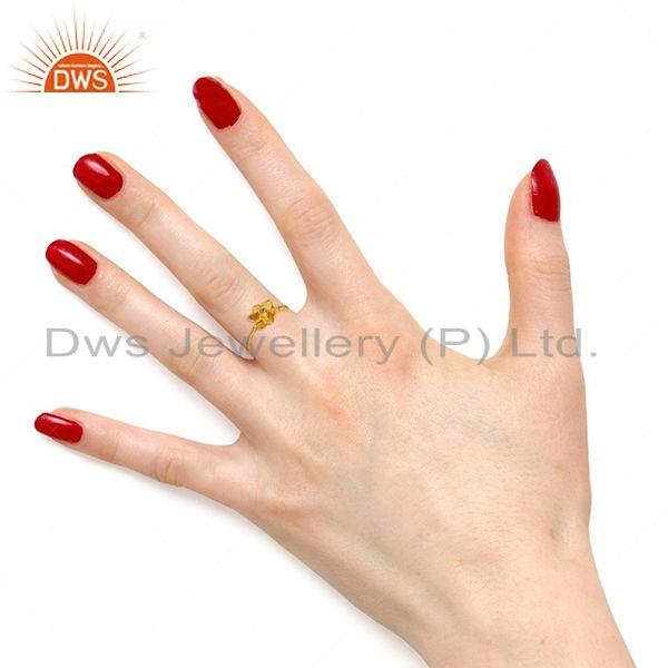 Wholesalers Traditional Handmade Flower Brass Flower Design Ring with 18k Gold Plated