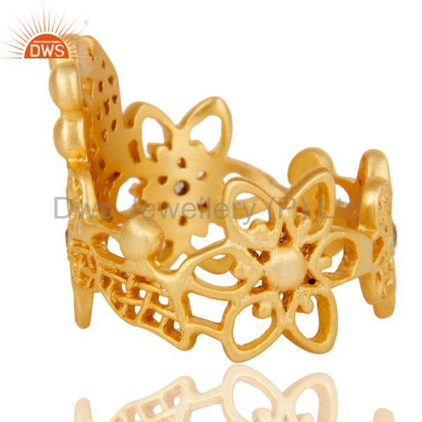 Wholesalers Traditional Handmade 18K Gold Plated White Zirconia Filigree Jewellery Ring