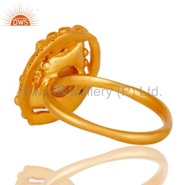 Wholesalers 18k Gold Plated Traditional Handmade Brass Ring with Pearl