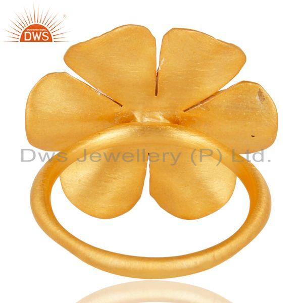 Wholesalers 18K Yellow Gold Plated Traditional Handmade White Zirconia Cocktail Brass Ring