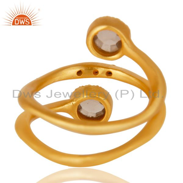 Wholesalers 14K Yellow Gold Plated Traditional Handmade White Zirconia Stackable Brass Ring