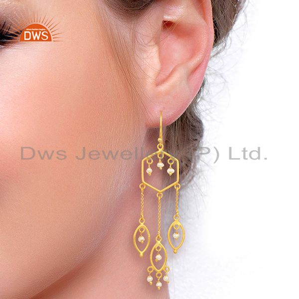 Gold Plated Gemstone Jewelry Earrings Manufacturer Wholesale Jaipur